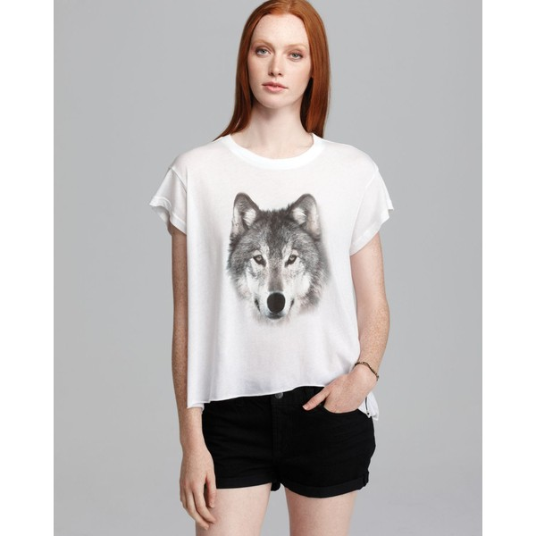 Wildfox Tee - Grey Wolf Jagged Edge - Wildfox Couture - Polyvore