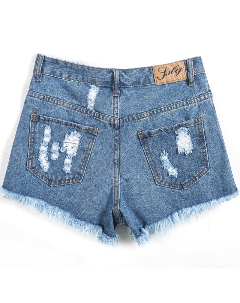 Blue Ripped Fringe Denim Shorts - Sheinside.com