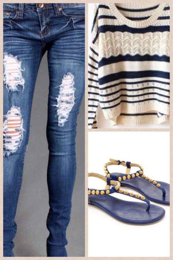 sweater jeans jeggings boots striped sweater ripped jeans shoes pants