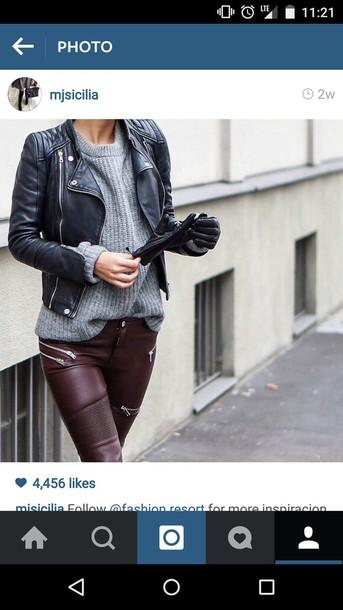 jeans leather pants burgundy leggings
