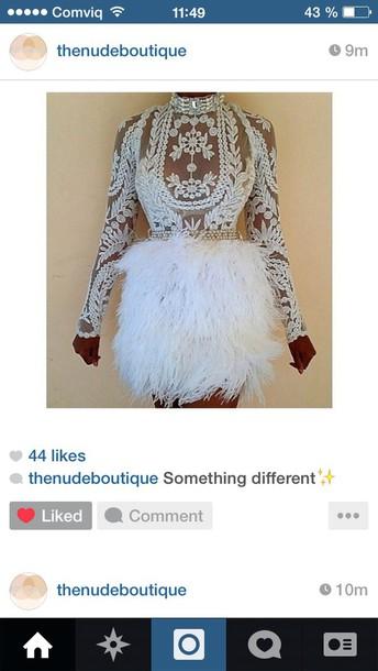 dress feathers crochet white dress crochet dress