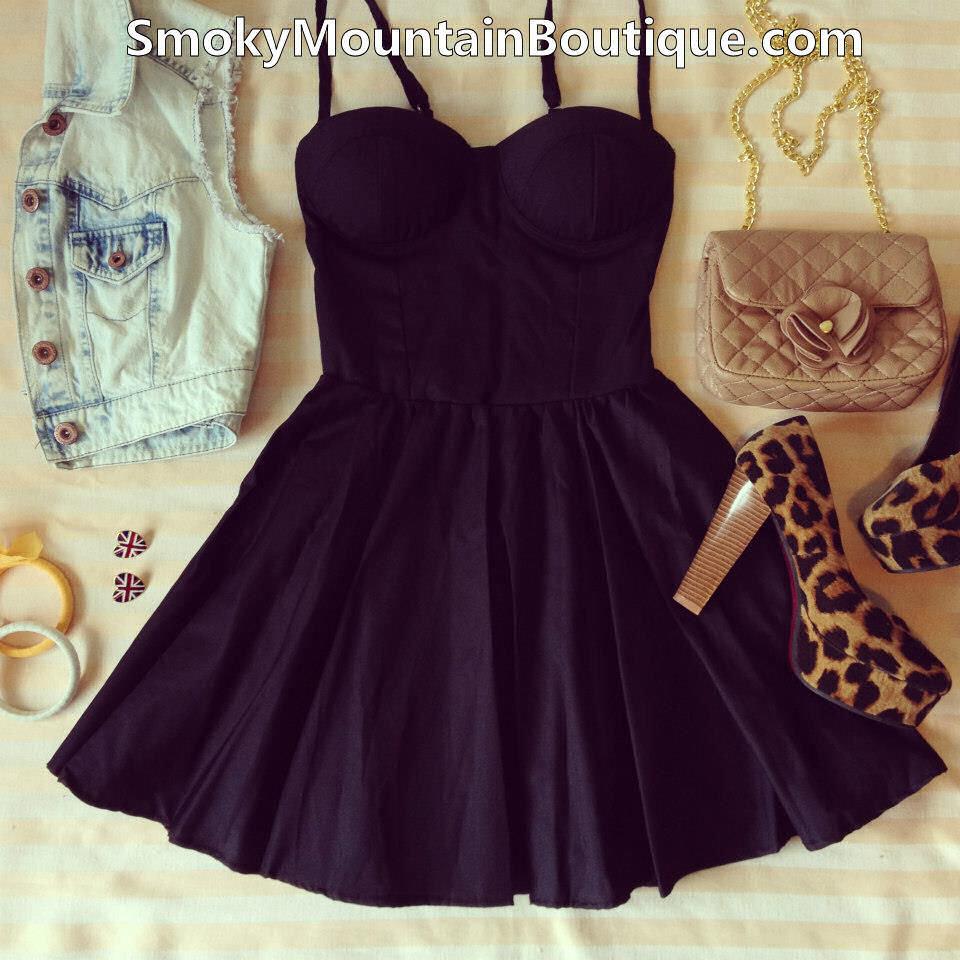 Sexy Black Bustier Dress with Adjustable Straps Size XS s M | eBay