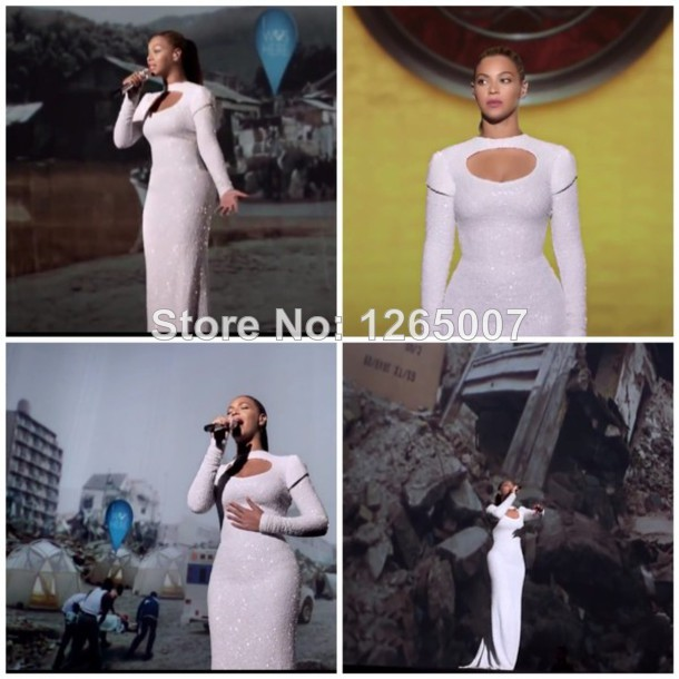 Aliexpress.com : Buy Beyonce Round Neck Keyhole Front Long Sleeves Sparkly Celebrity Dress Long Sleeves Shiny Sequins White Evening Formal Gowns from Reliable dresses below the knee suppliers on SFBridal