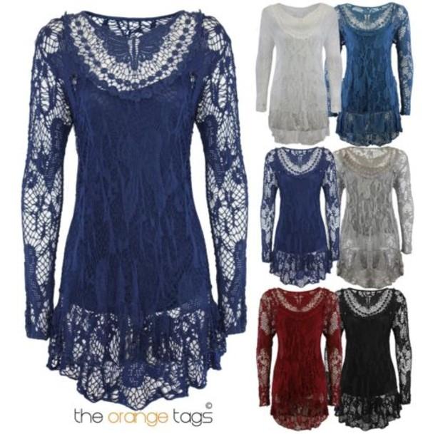 blouse italian vest long sleeves top crochet jumper lace trim dress gorgeous elegant casual floral women girl sexy lace insert