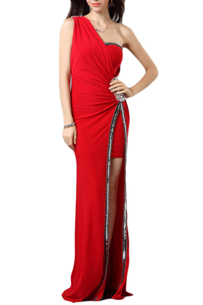 Single Shoulder Waist Crystal Decoration Long Section slits Evening Dress,Cheap in Wendybox.com