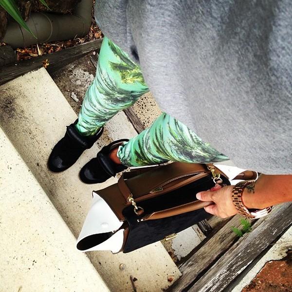 pants printed pants palm shoes jeans green pants grey blouse bag sneakers tree summer isabel marant celine palm tree print