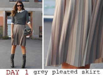 pleated mireia my daily style grey skirt skirt