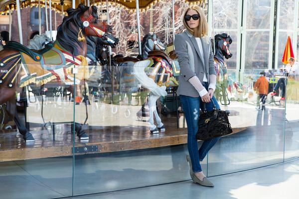 jacket olivia palermo jeans bag shoes top t-shirt