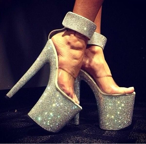 shoes high heels silver glitter platform shoes