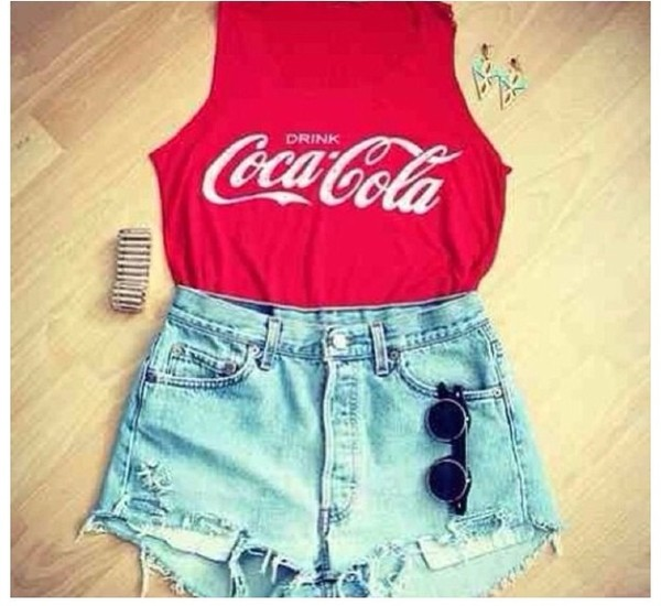 blouse red coca cola shirt