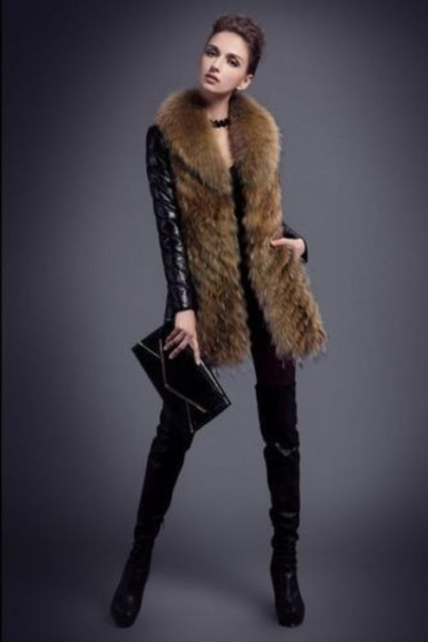 coat leather jacket fur vest