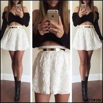 skirt white skirt golden belt roses high waisted skirt