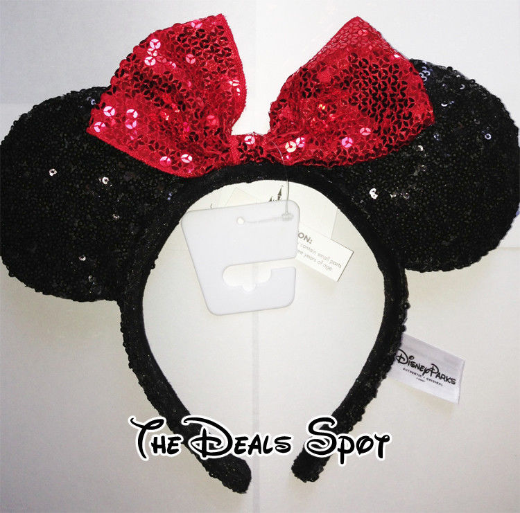 New Offical Disney Headband Hat Sequined Minnie Mouse Ears Exclusive | eBay