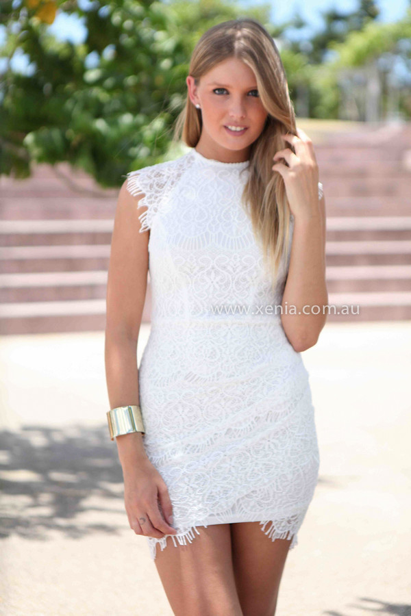 dress xeniaboutique fashion ootd ootn lace white dress women's clothing