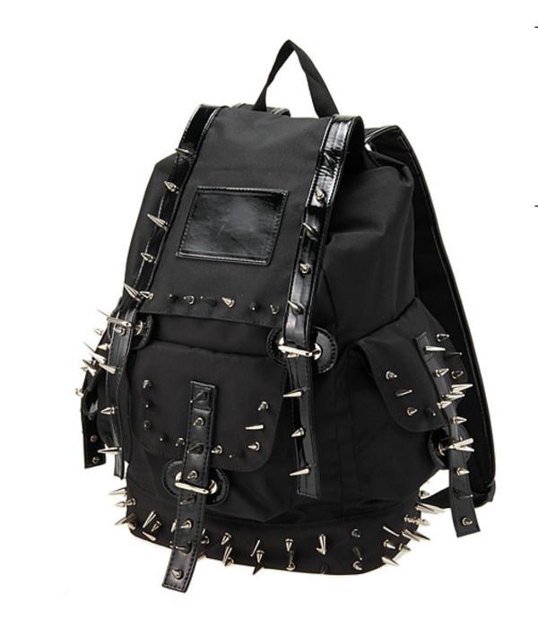 bag backpack spikes black alternative studs leather tumblr harajuku ulzzang kfashion spiked backpack
