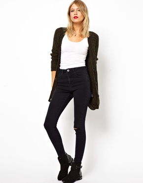 ASOS   ASOS Ridley High Waist Ultra Skinny Jeans in Washed Black with Ripped Knee at ASOS