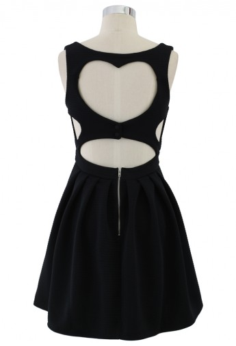 Sweetie Heart Cut Out Skater Dress in Black - Retro, Indie and Unique Fashion