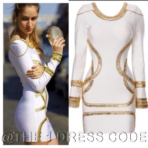 dress love and hiphop bandage dress white dress gold jewelry quality white bodycon midi dress