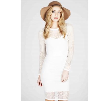 Kardashian White Crochet Midi Dress - Dresses - CLOTHING - 5Fashion.co.uk