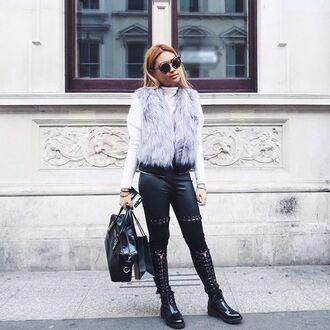 coat maniere de voir jacket sleeveless gilet fur zip off reversable grey black longline waistcoat