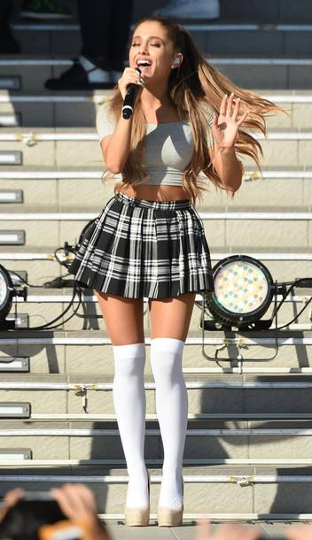 top crop tops ariana grande socks skirt