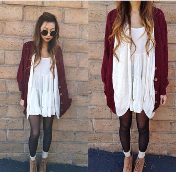 sweater cardigan knitted cardigan burgundy winter sweater winter outfits dress white long wavy