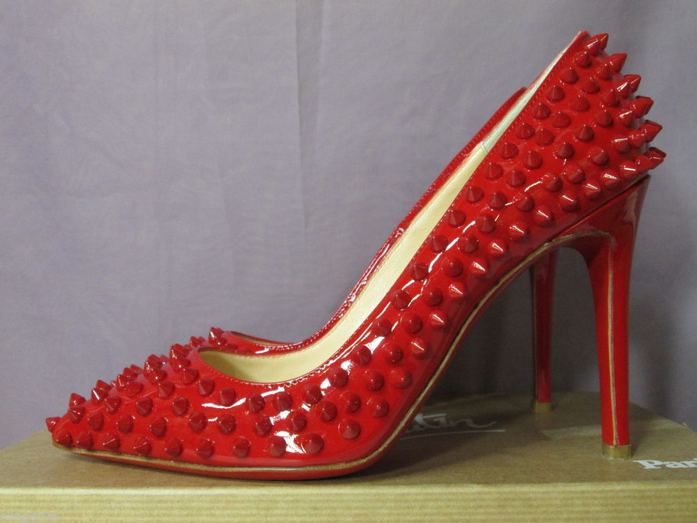 AUTHENTIC NEW CHRISTIAN LOUBOUTIN RED PIGALLE 100 SPIKES RED SOLE PUMP SHOE/39   eBay