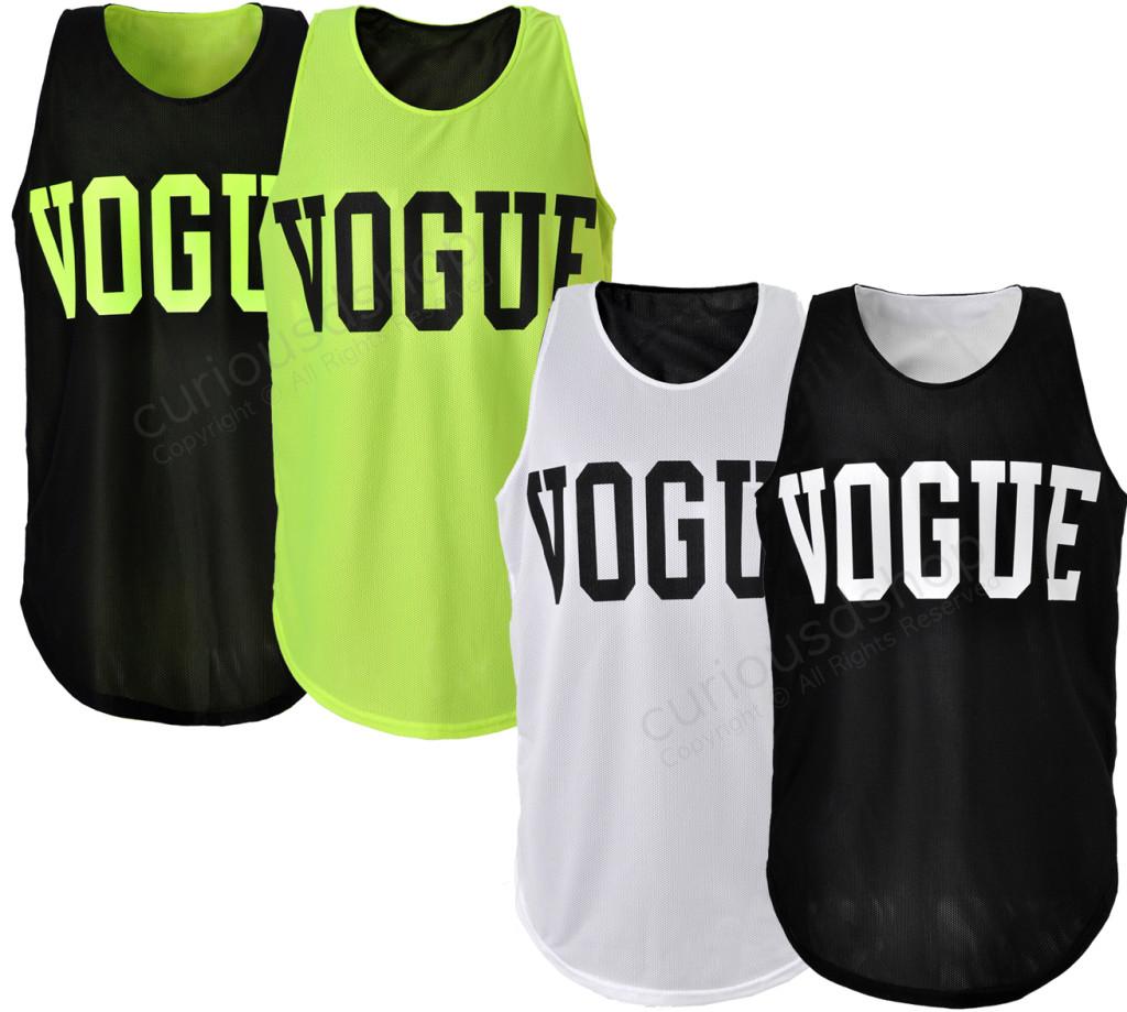 New Vogue Print Reversible Mesh Tank Top Vest Sleeveless Neon Green Black White   eBay