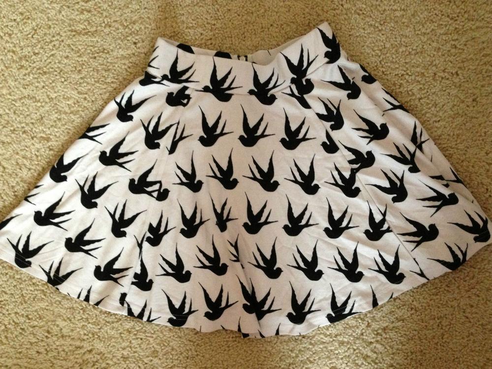 H M Divided Bird Print Skirt Size US 4 | eBay