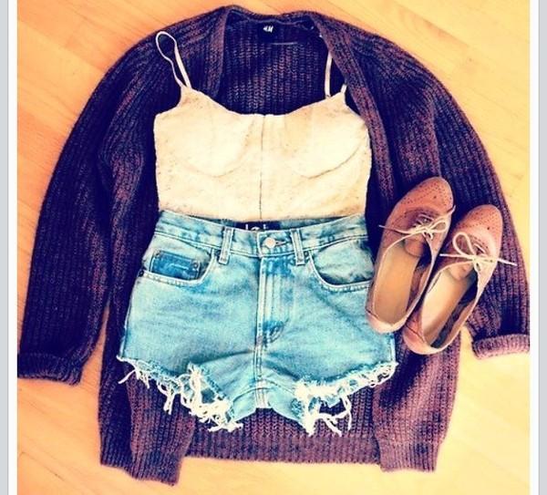 sweater tank top shorts