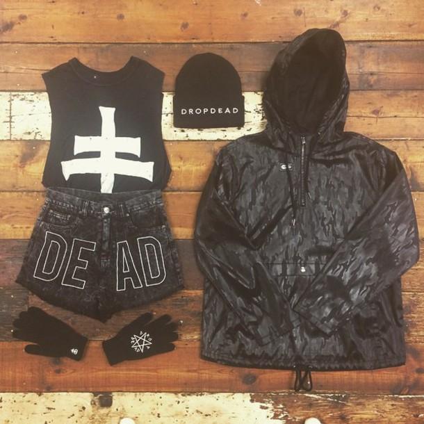 shorts grunge jacket