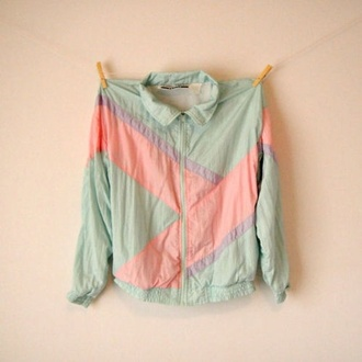 jacket pink and blue jacket 80s style light blue sea blue sea green