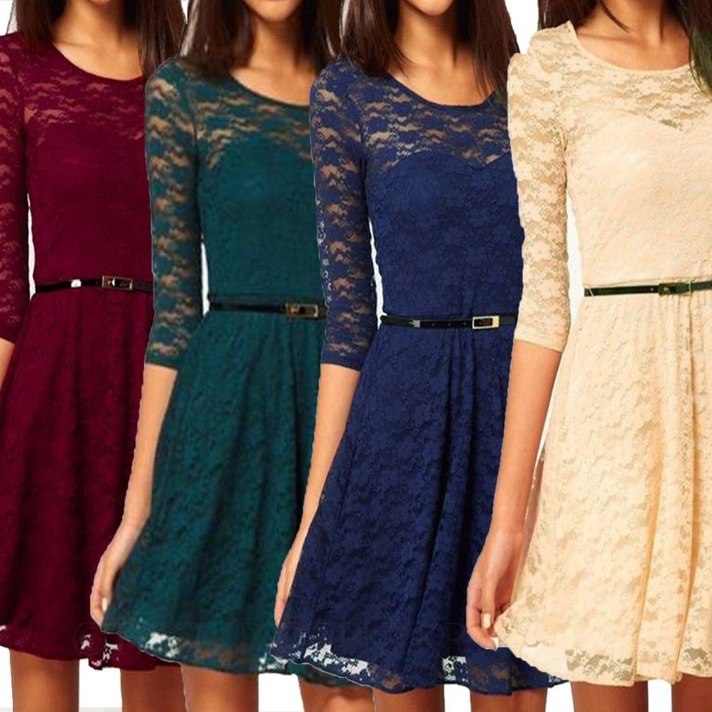 Stretchy Long Sleeve Vintage Mini Lace Dress Womens Skater Ladies US 0 2 4 6 | eBay