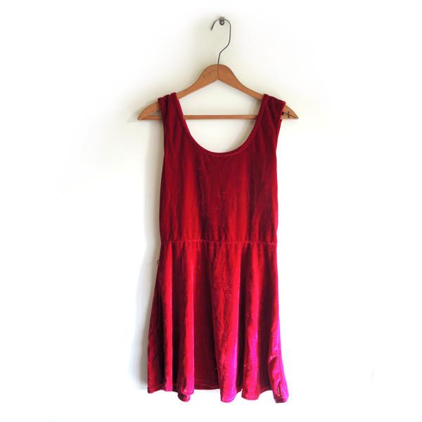 dress red summer sea beach velvet red dress