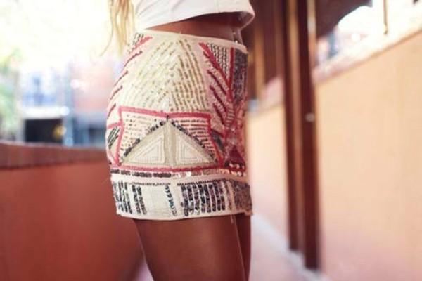 skirt skirt white pearls mini blogger blog t shirt aztec skirt shirt beaded white glitter summer fashion