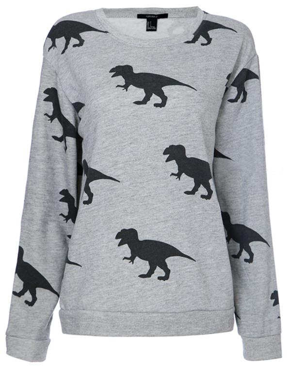 sweater grey Dinosaur print