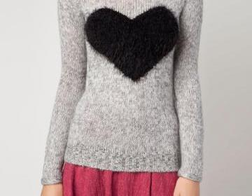 Fluffy Heart Front Knit Sweater on Luulla