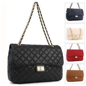 Women Gold Chain Shoulder Quilted Black Bag G15 | eBay