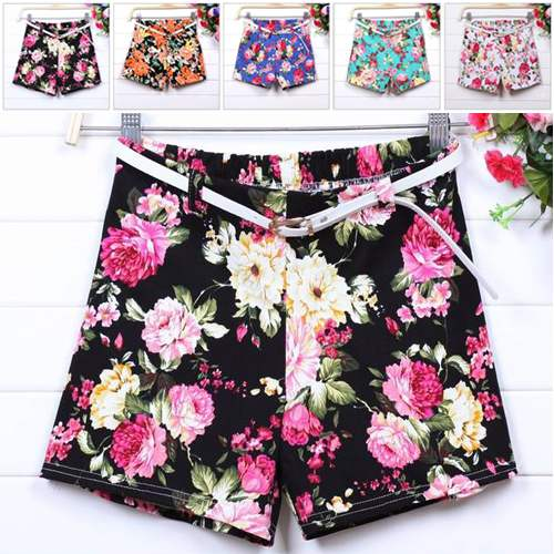 STREET FASHION 2014 Summer New Korean women flower floral printed shorts women hot short pants casual pants with Free Belt-in Shorts from Apparel & Accessories on Aliexpress.com