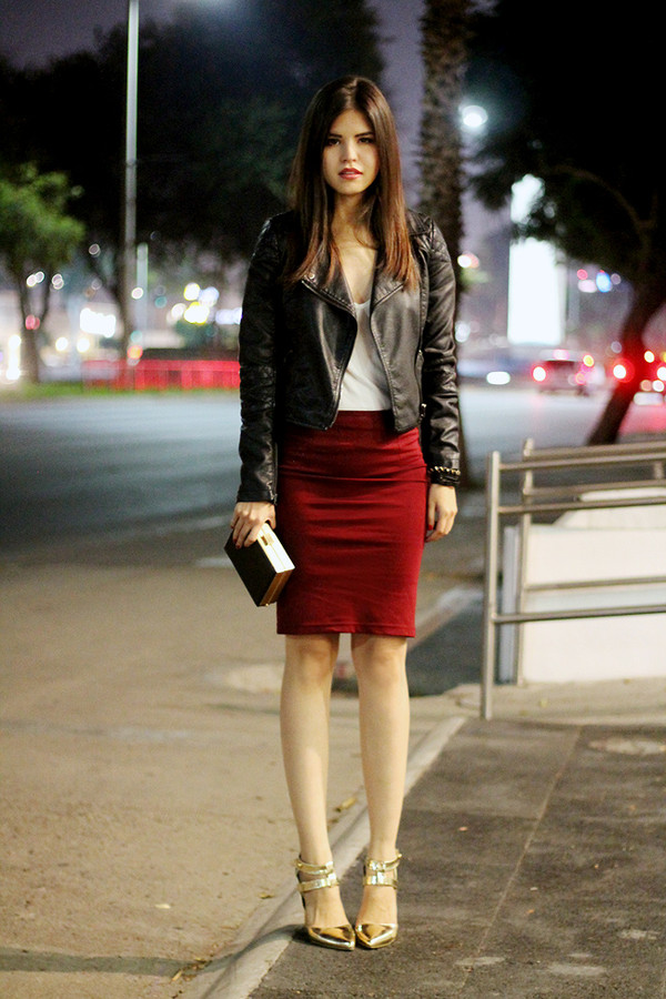 fake leather jacket tank top skirt bag shoes