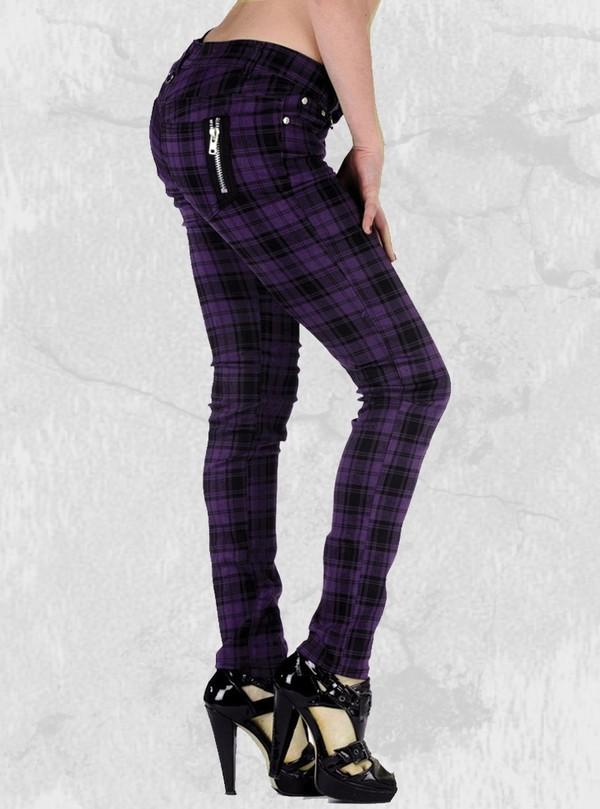 jeans black purple slim punk emo rockabilly