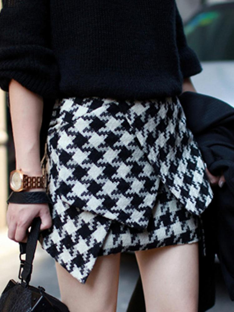 Pencil Skirt In Quilted Dogtooth   Choies
