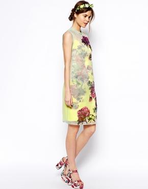 ASOS | ASOS SALON Shift Dress In Organza With Applique Flowers at ASOS