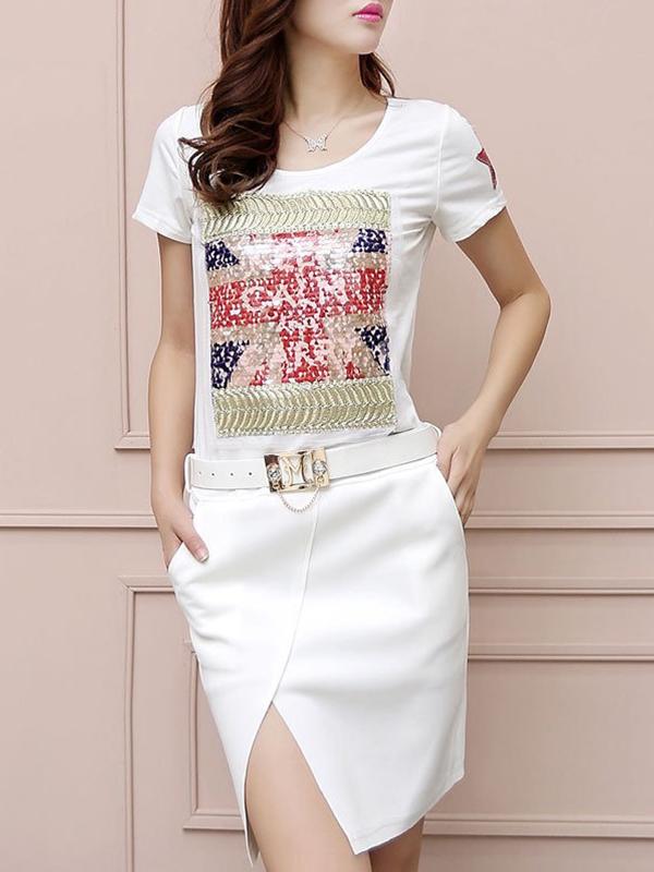 Cotton Short Sleeve Front Slit Hem Print Casual Dress : KissChic.com