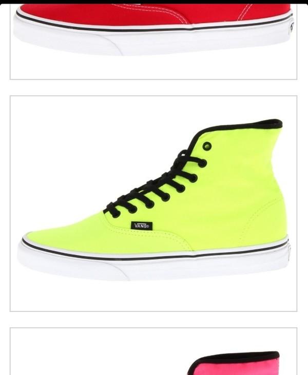 shoes vans green hightops fluro neon