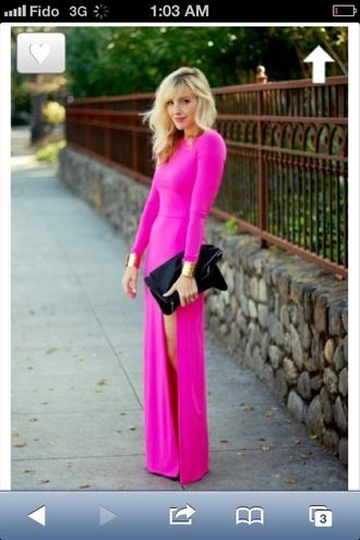 dress maxi dress neon pink bright pink