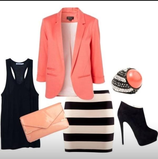 skirt striped skirt jewels coat jacket shoes
