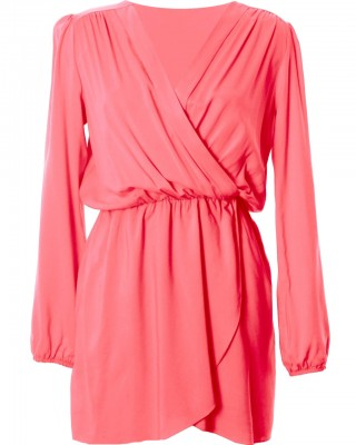 LOVE Coral Long Sleeve Wrap Dress - In Love With Fashion