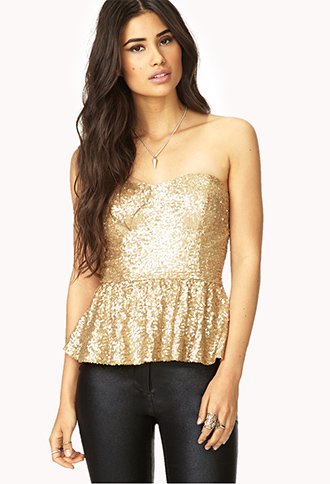 Showstopper Sequined Bustier | FOREVER 21 - 2000073047