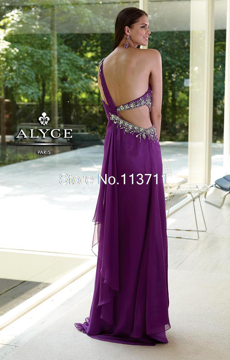 Sexy/Wild Column One Shoulder Basque Sleeveless Chiffon Backless Beading Floor Length Purple Prom Dress-in Prom Dresses from Apparel & Accessories on Aliexpress.com